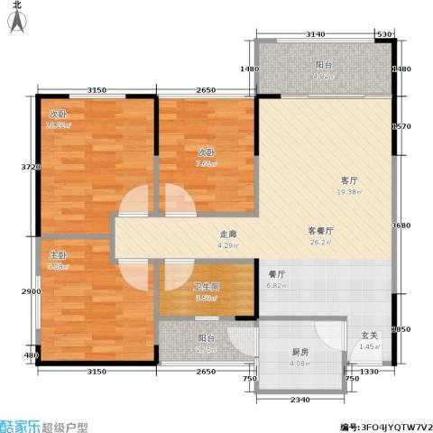 娄山关梦里水乡3室1厅1卫1厨87.00㎡户型图
