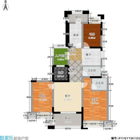润开华府3室1厅2卫1厨122.00㎡户型图