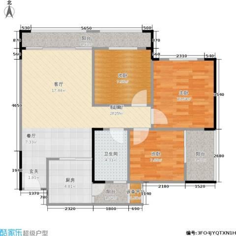 梦里水乡3室1厅1卫1厨91.00㎡户型图