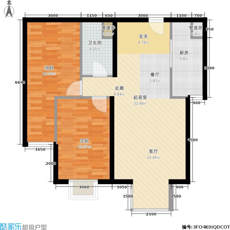 远洋沁山水89.00㎡7#楼B2'面积8900m户型
