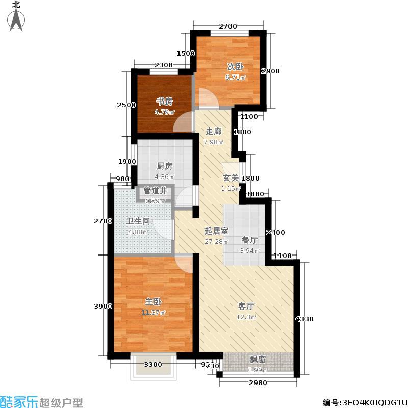 远洋沁山水88.00㎡8#楼C13面积8800m户型