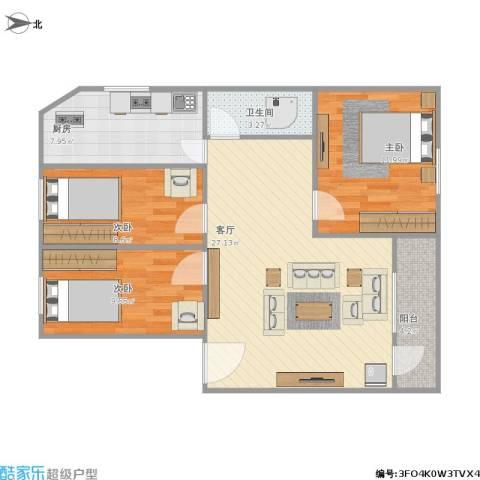 金侨花园3室1厅1卫1厨98.00㎡户型图