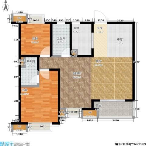 九龙仓时代上城年华里2室1厅2卫1厨105.00㎡户型图