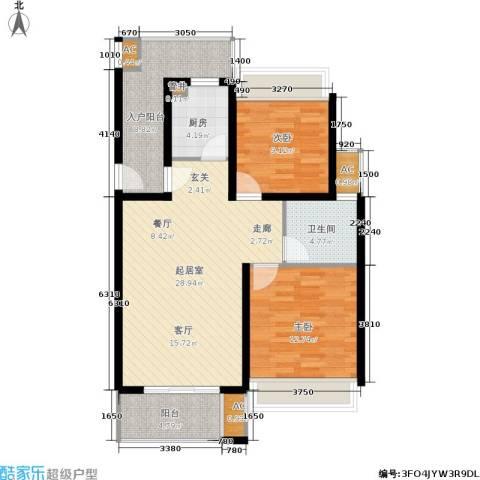 中惠晨曦怡庭2室0厅1卫1厨87.00㎡户型图