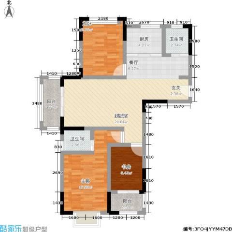 北宸新苑3室0厅2卫1厨89.00㎡户型图