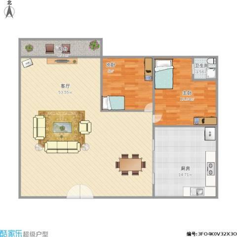 学府华庭2室1厅1卫1厨126.00㎡户型图