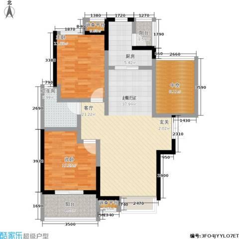 富力十号2室0厅1卫1厨93.00㎡户型图