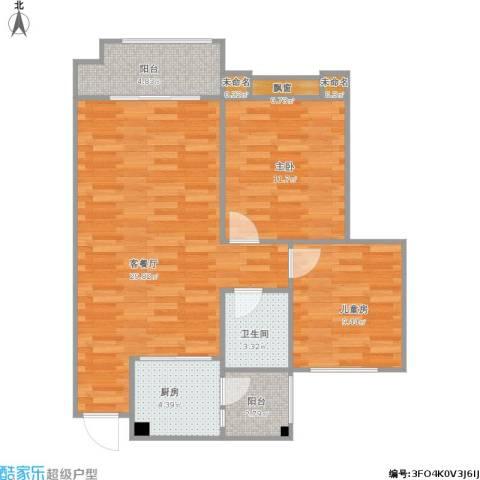 兴发金域丽江2室1厅1卫1厨92.00㎡户型图