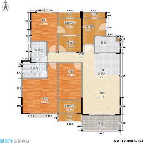广物锦绣东方3室0厅2卫1厨126.94㎡户型图