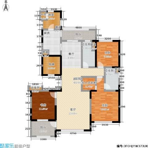 石湖天玺3室0厅2卫1厨155.00㎡户型图