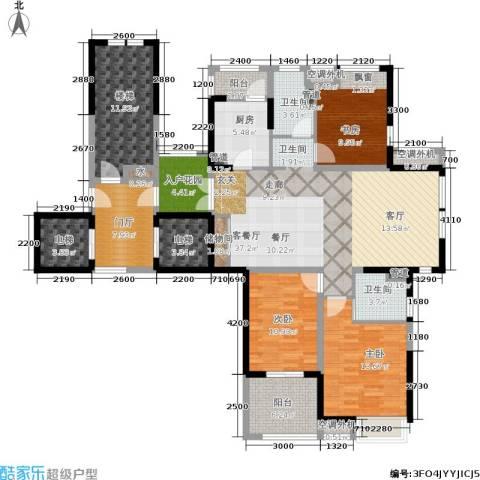 润开华府3室1厅2卫1厨128.35㎡户型图