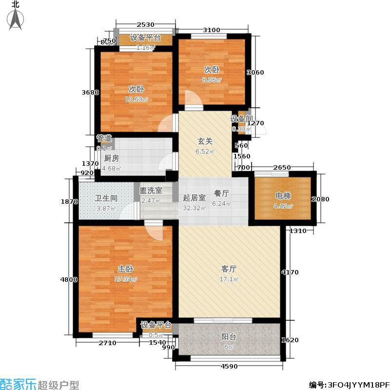 金地华城105.00㎡三期56、60号楼标准层H户型