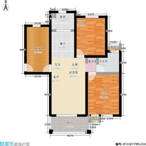 金地华城2室0厅1卫1厨90.00㎡户型图