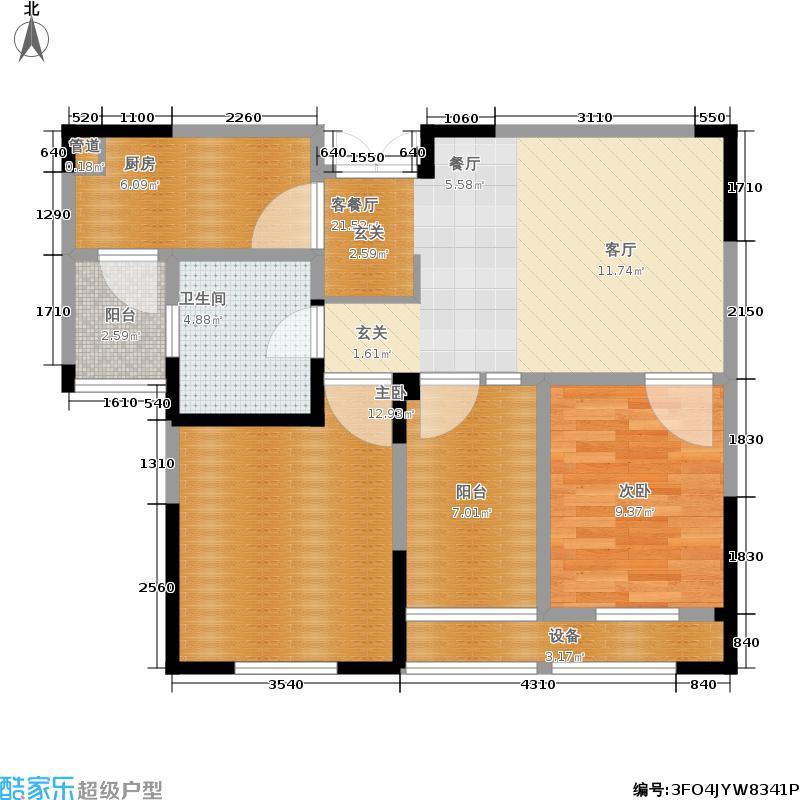 东方维罗纳78.00㎡高层7#11#标准层D户型