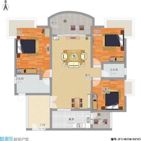 汇景新城上城勋堡3室1厅2卫1厨171.00㎡户型图