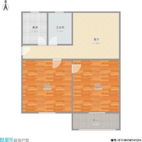 开城新村2室1厅1卫1厨104.00㎡户型图