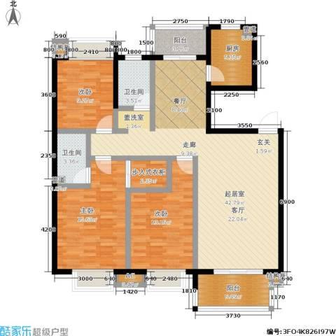 合肥岸上玫瑰3室0厅2卫1厨104.87㎡户型图