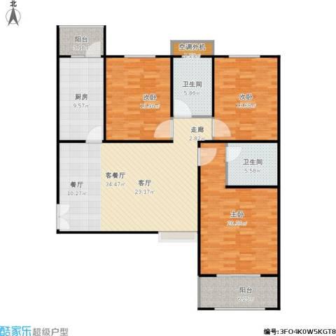 恒隆广场3室1厅2卫1厨153.00㎡户型图