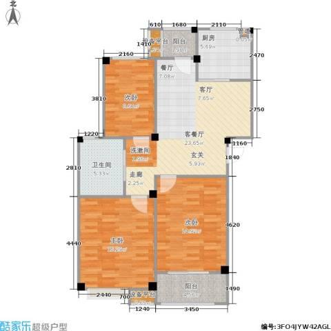 甫澄熙岸3室1厅1卫1厨89.00㎡户型图