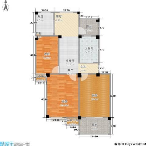 甫澄熙岸3室1厅1卫1厨88.00㎡户型图