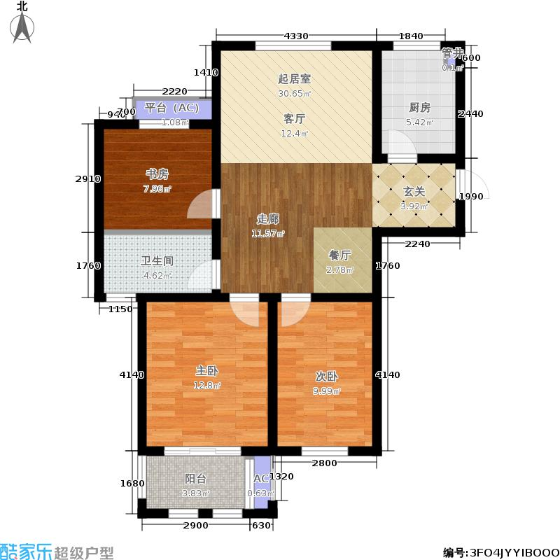 乐居雅花园89.00㎡一期07-09号楼标准层D-1户型
