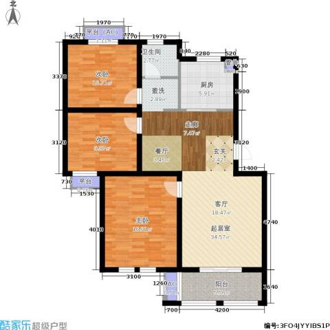 乐居雅花园3室0厅1卫1厨101.00㎡户型图
