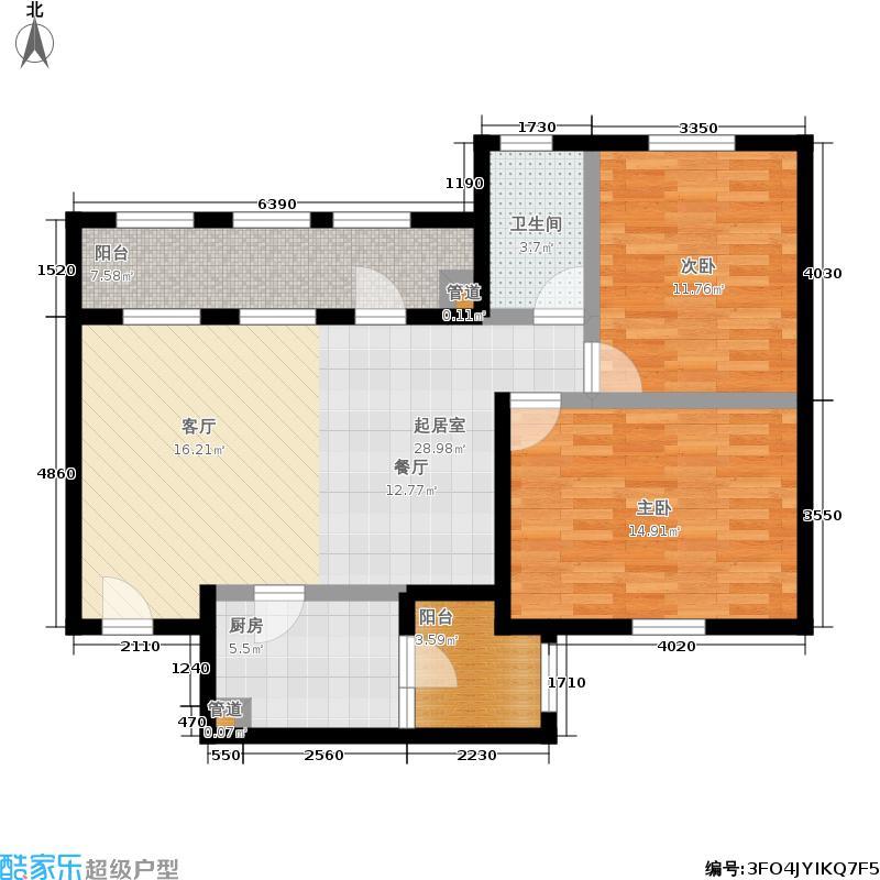 思念果岭国际社区88.42㎡三期B3户型