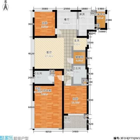 正荣润�项目3室1厅2卫1厨127.00㎡户型图