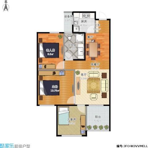 东方苑3室1厅1卫1厨96.00㎡户型图