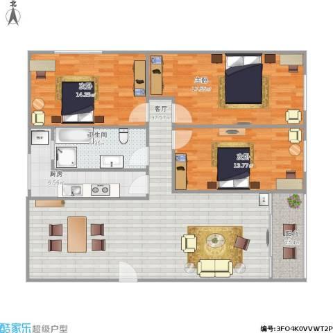 龙都花园3室1厅1卫1厨135.00㎡户型图
