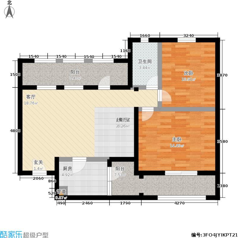 思念果岭国际社区87.85㎡三期A3+户型