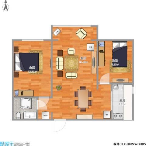 西吴御龙庭2室1厅1卫1厨80.00㎡户型图