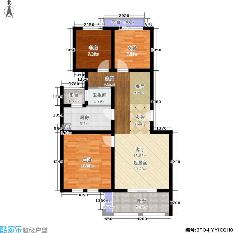 乐居雅花园88.00㎡一期10-12号楼标准层B-1户型