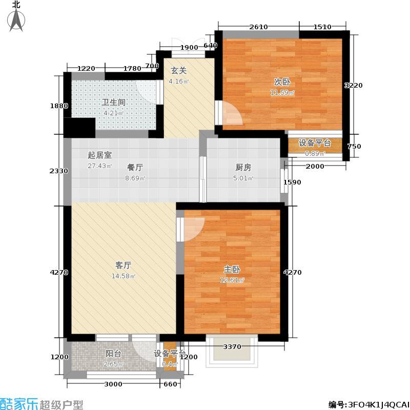 观锦92.61㎡一期高层5、6、7号楼标准层7B2户型2室2厅