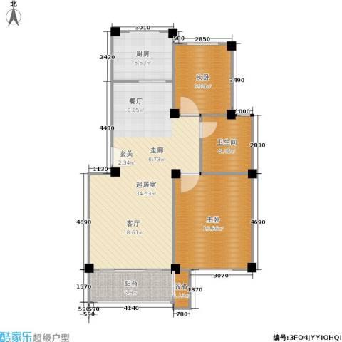 福基九龙新城2室0厅1卫1厨87.00㎡户型图