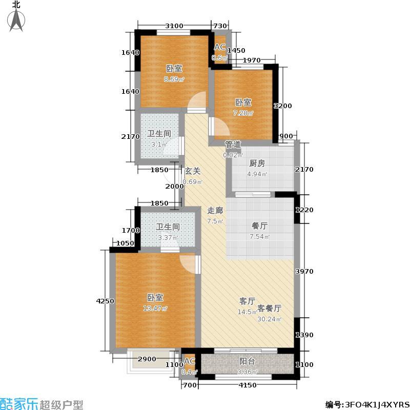 合景万翠台106.00㎡洋房户型3室2厅