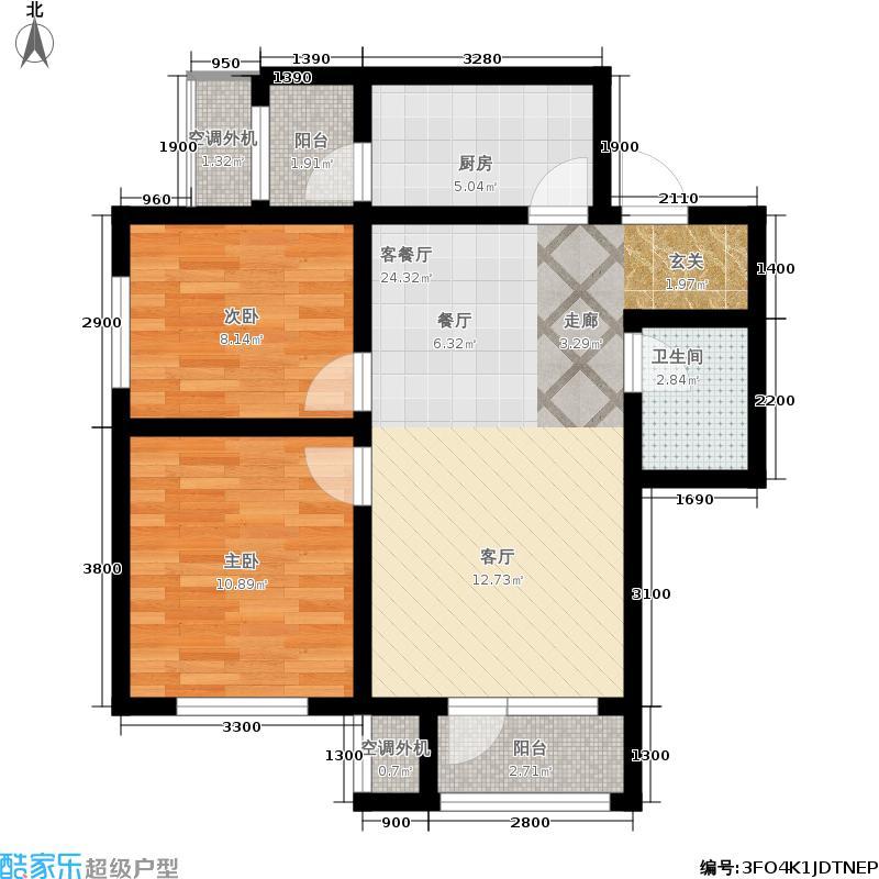 中国铁建国际城90.00㎡二期高层标准层EB户型2室2厅