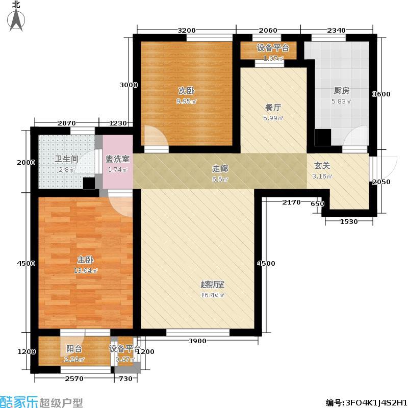 观锦101.00㎡高层标准层2-B户型2室2厅