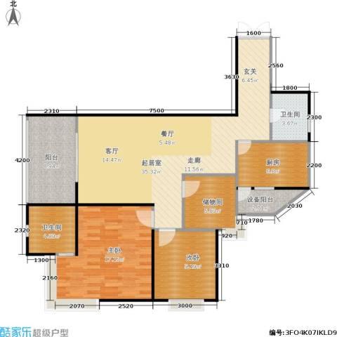 东和春天(E、F组团)2室0厅2卫1厨127.00㎡户型图