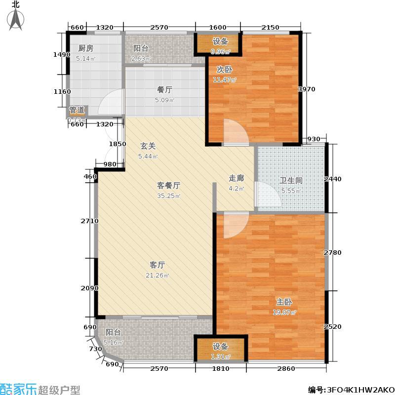 五矿万境水岸91.31㎡16号栋B2型户型2室2厅