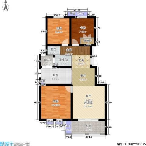 乐居雅花园3室0厅1卫1厨98.00㎡户型图
