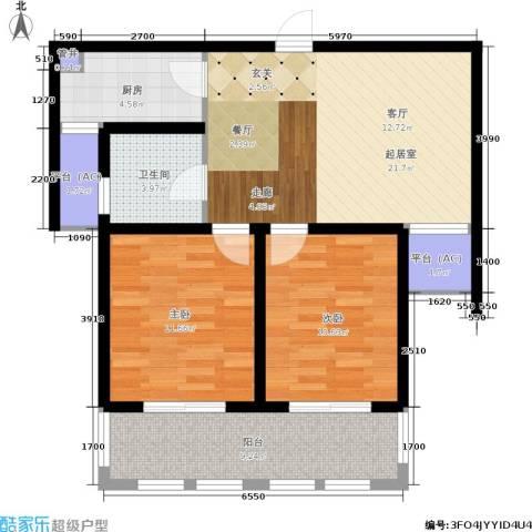 乐居雅花园2室0厅1卫1厨76.00㎡户型图