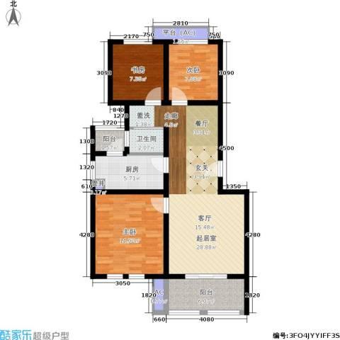 乐居雅花园3室0厅1卫1厨88.00㎡户型图