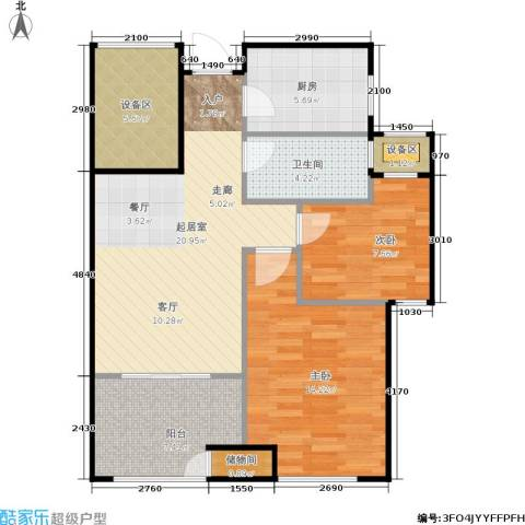 新城香溢紫郡2室0厅1卫1厨74.00㎡户型图
