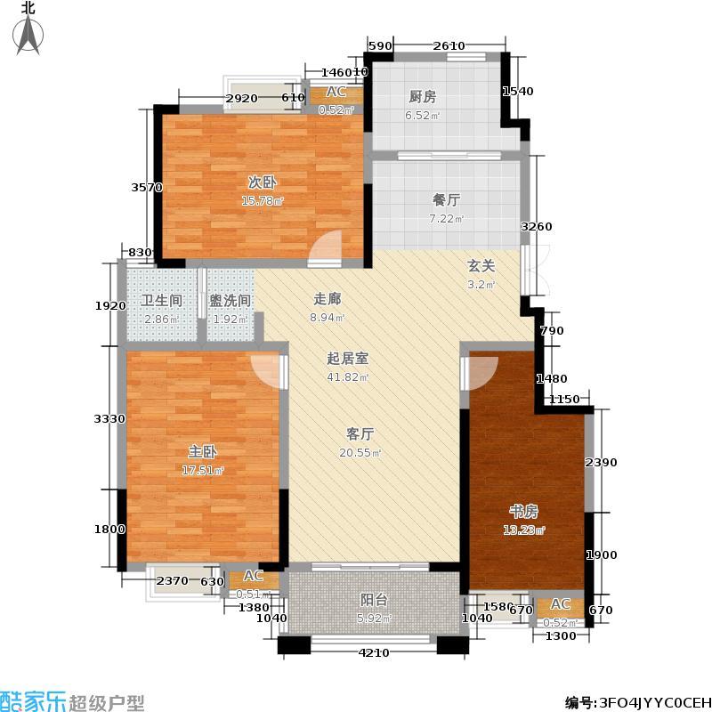 爱涛天岳城118.00㎡一期1、2、3、6、8号楼B'户型