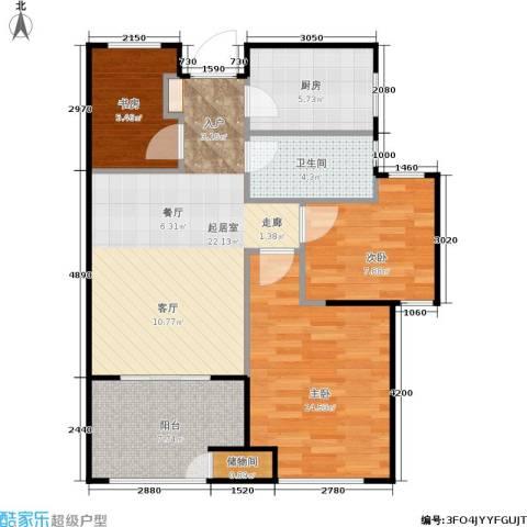 新城香溢紫郡3室0厅1卫1厨75.00㎡户型图