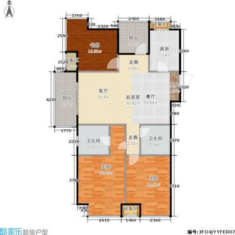 保利罗兰春天3室0厅2卫1厨122.00㎡户型图