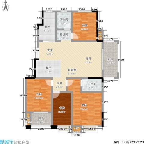 爱涛天岳城4室0厅2卫1厨128.00㎡户型图