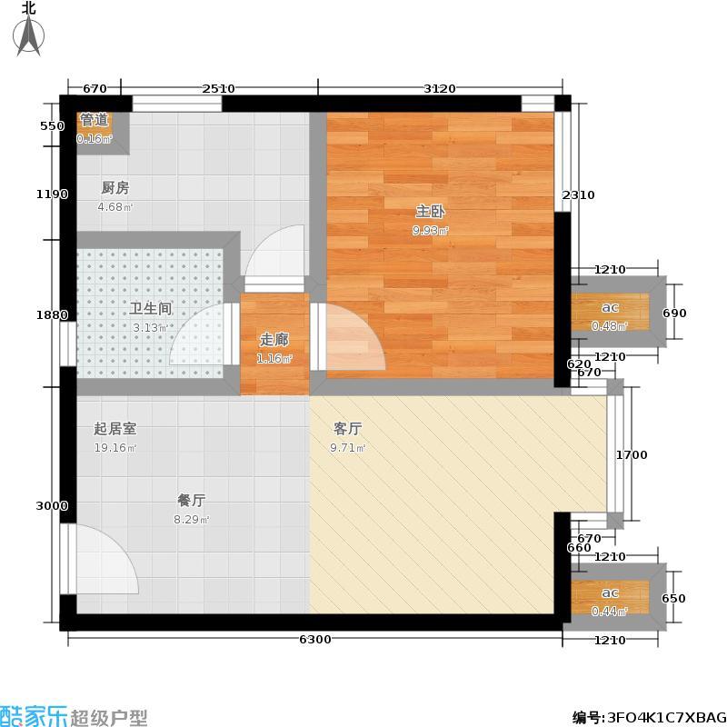 北京北55.57㎡A1面积5557m户型