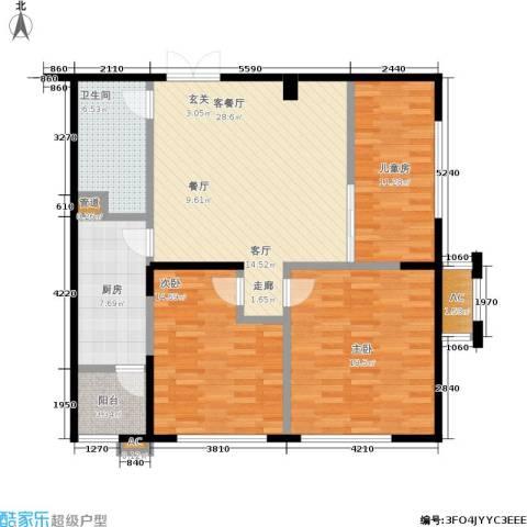 协众水岸风华3室1厅1卫1厨104.00㎡户型图